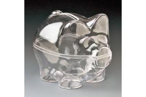 Plastic money-box pig, 9x7 cm.