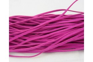 Wool cord, deep pink, each piece: 100 cm long, 3 mm wide, 1 mm thick.1 pcs. LS305