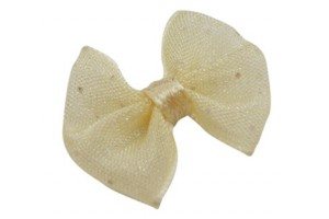 Ribbon bowknot decoracions, yellow, 20x23 mm., LS564