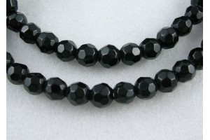 Glass bead, faceted, round, black, 4 mm., LS504