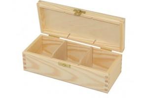 Medinė dėžutė arbatai 3 skyriai su spynele 1096