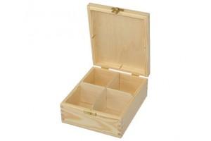 Medinė dėžutė arbatai 4 skyriai su spynele 1097