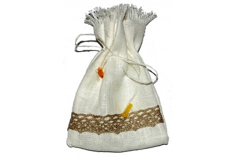 Natural bag with amber, 10x20 cm.