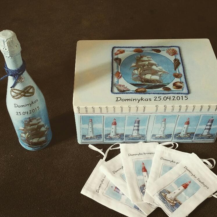 Dekupažinė dėžutė krikštynoms ir krikštynų atributika