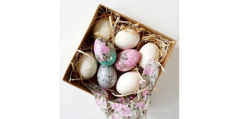 Natural Eggs decorated with Decoupage Paper, napkins